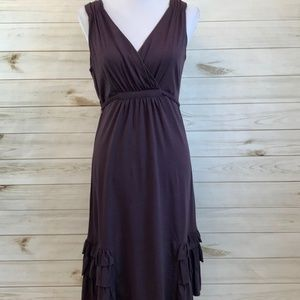 SUNDANCE Purple V Neck Ruffle Sleeveless Dress